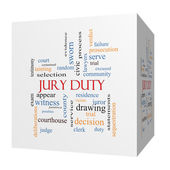 Jury Duty 3D cube Word Cloud Concept — Stock Photo