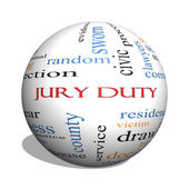 Jury Duty 3D sphere Word Cloud Concept — Stock Photo