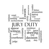 Jury Duty Word Cloud Concept in black and white — Stock Photo