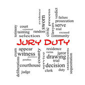 Jury Duty Word Cloud Concept in red caps — Stock Photo