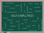 Self-Employed Word Cloud Concept on a Blackboard — Stock Photo