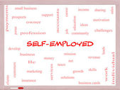 Self-Employed Word Cloud Concept on a Whiteboard — Stock Photo
