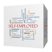 Self-Employed 3D cube Word Cloud Concept — Stock Photo