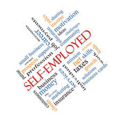 Self-Employed Word Cloud Concept angled — Stock Photo