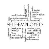 Self-Employed Word Cloud Concept in black and white — Stock Photo