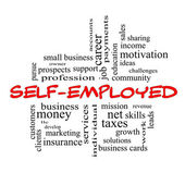 Self-Employed Word Cloud Concept in red caps — Stock Photo