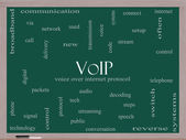 VOIP Word Cloud Concept on a Blackboard — Stock Photo