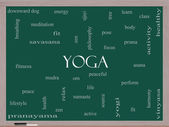 Yoga Word Cloud Concept on a Blackboard — Stock Photo