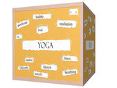 Yoga 3D cube Corkboard Word Concept — Stock Photo