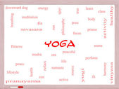 Yoga Word Cloud Concept on a Whiteboard — Stock Photo