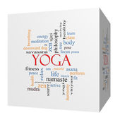 Yoga 3D cube Word Cloud Concept — Stock Photo