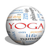 Yoga 3D sphere Word Cloud Concept — Stock Photo