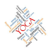 Yoga Word Cloud Concept Angled — Stock Photo