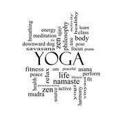 Yoga Word Cloud Concept in black and white — Stock Photo