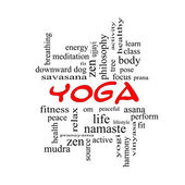 Yoga Word Cloud Concept in red caps — Stock Photo