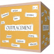 Outplacement 3D cube Corkboard Word Concept — Stock Photo