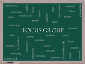 Focus Group Word Cloud Concept on a Blackboard — Stock Photo