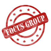 Red Weathered Focus Group Stamp Circles and Stars — Stock Photo