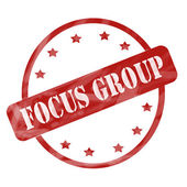 Red Weathered Focus Group Stamp Circle and Stars — Stock Photo