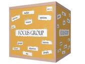 Focus groep 3d-kubus prikbord woord concept — Stockfoto