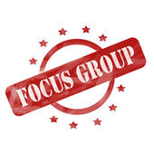 Red Weathered Focus Group Stamp Circle and Stars design — Stock Photo