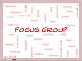 Focus Group Word Cloud Concept on a Whiteboard — Stock Photo