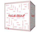 Focus Group Word Cloud Concept on a 3D cube Whiteboard — Stock Photo