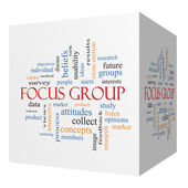 Focus Group 3D cube Word Cloud Concept — Stock Photo