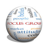 Focus Group 3D sphere Word Cloud Concept — Stock Photo