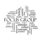 Focus Group Word Cloud Concept in black and white — Stock Photo