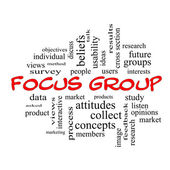 Focus Group Word Cloud Concept in red caps — Stock Photo