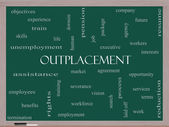 Outplacement Word Cloud Concept on a Blackboard — Stock Photo