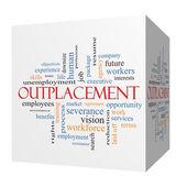 Outplacement 3D cube Word Cloud Concept — Stock Photo
