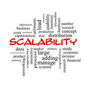 Scalability Word Cloud Concept in red caps — Stock Photo