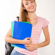 Graceful female student with books in hands — Stock Photo