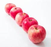 Line of red apples — Stock Photo
