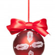 Royalty-Free Stock Photo: Christmas ball with bow isolated on white background.