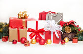 Christmas gifts and decorations on a white background — Stock Photo