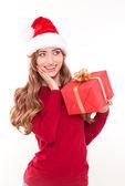 Jul kvinna med gåva — Stockfoto