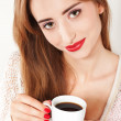 Portrait of Beautiful Woman with cup of Coffee close up — Stock Photo
