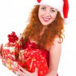 Christmas woman with gift and red manicure — Stock Photo