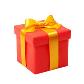 Red box with yellow bow as a gift — Stock Photo