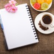 Blank Paper for your own text, Coffee, flowers — Stock Photo #18926179