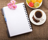 Blank Paper for your own text, Coffee, flowers — Stock Photo