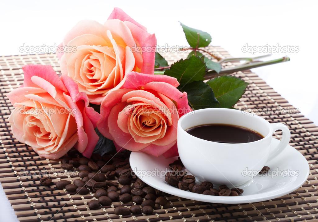 Открытка с добрым утром кофе и розы 338