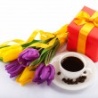 Stock Photo: Flowers and red gift box.