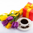 Flowers and red gift box. — Stock Photo