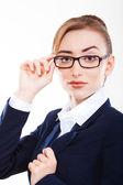 Mulher de negócios linda no fundo branco — Foto Stock