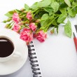 Flowers, coffee and notebook. — Stock Photo #19804207