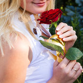 Portrait of romantic woman with flowers — Stock Photo